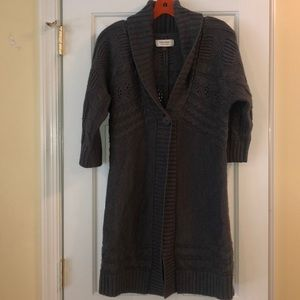 Gray cardigan sweater with quarter sleeves
